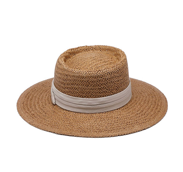 Birdie Natural Wide Brim Hat w/ Ribbon
