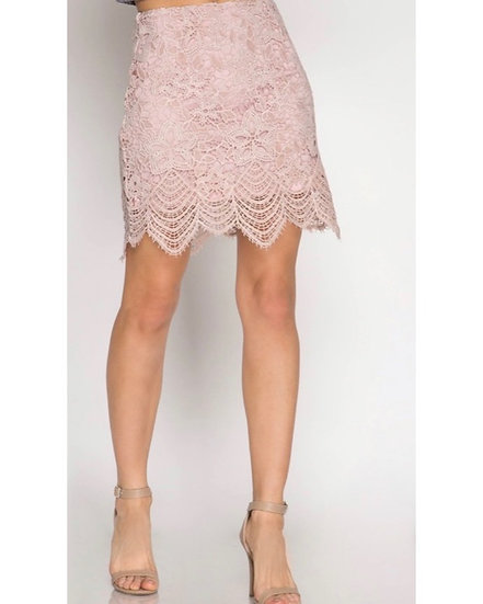 Lace Skirt In Blush Pink