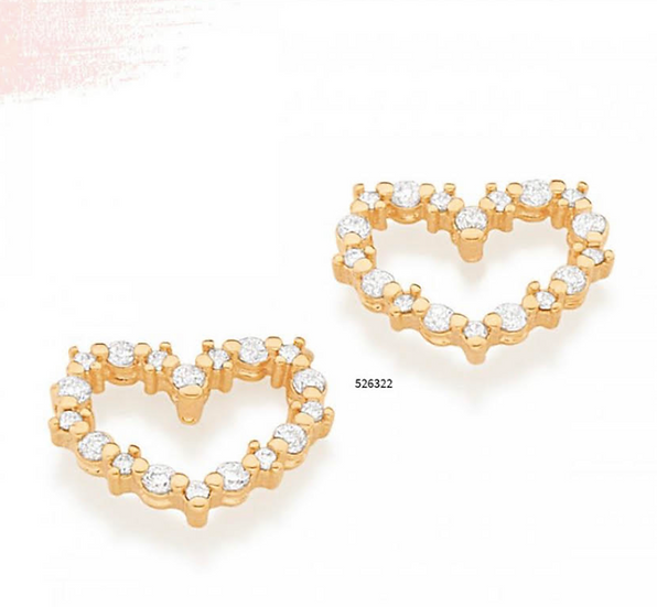 Heart Stud Earring Studded with High Quality Zirconia