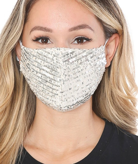 Off White and Silver Sequin Mask
