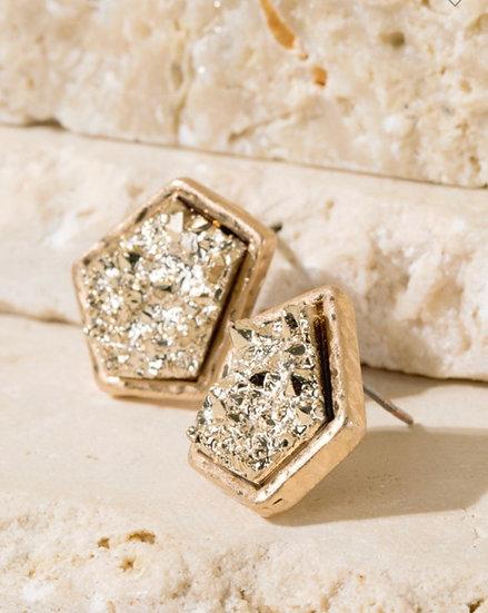 Druzy stone gold earrings
