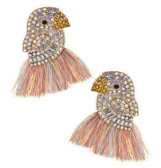 Rainbow tassels bird earrings Swarovski crystals