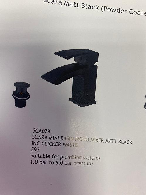 Scara Mini Mono Mixer Matt Black Inc Clicker Waste SCA07K