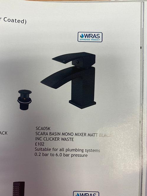 Scara Basin Mono Mixer Matt Black Inc Clicker Waste SCA05K