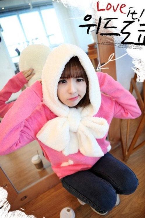 Plush Hoodie Pink Sweater
