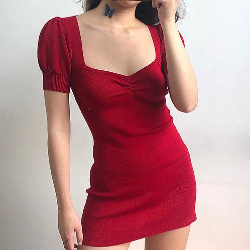 Square Collar Red Dress