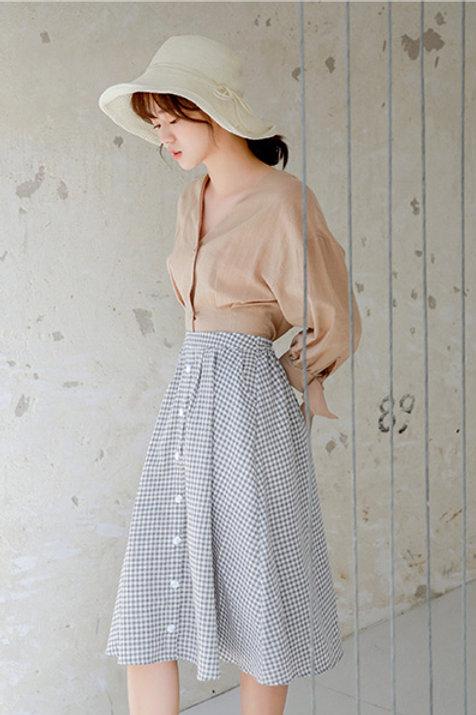 Maxi Gingham A Cut Skirt