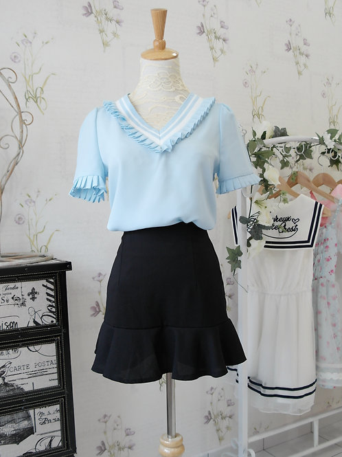 Navy Collar Chiffon Blouse