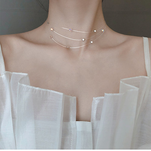 925 Sterling Silver Starry 3 Layer Choker
