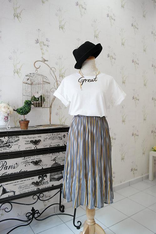 Chiffon Drape Maxi Stripes Skirt