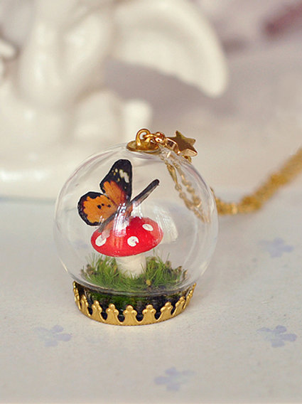 Forest Butterfly on Mushroom Globe Necklace