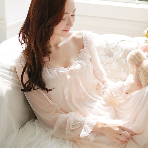 Lace Collar Long Sleeve Nightgown