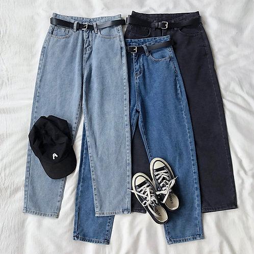 Kfashion High Waist Jeans w Belt