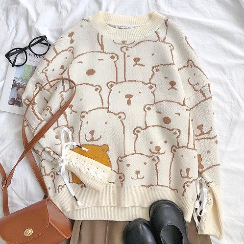 Knitted Bear Lace Cuff Sweater