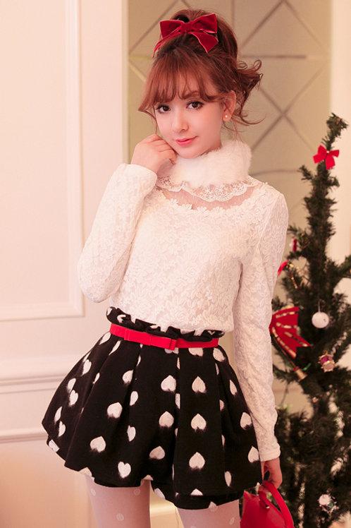 Winter Hearts Wool Skort with Belt