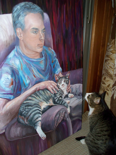 Charlie-Cat looks at his Painting