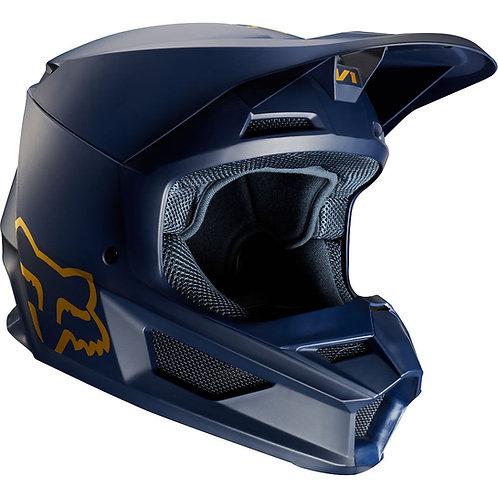 Fox Racing V1 Navy/Gold Helmet