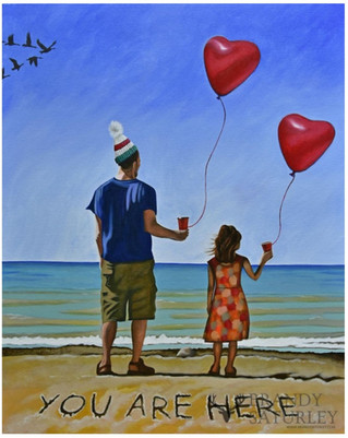 Painting of a father and daughter on the shores of Lake Ontario, holding heart shaped balloons and Tim Hortons coffee.