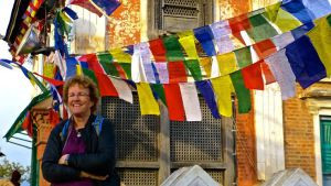 Dr. Francie Cuthbert visiting Monkey Temple in Nepal
