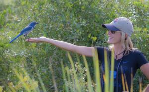 Andrea Pico Estrada and a wild Florida Scrub Jay