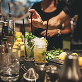 Cocktails at a bar