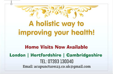 Acupuncture Home visits Available in London | Hertfordshire | Cambridgeshire - Booking 07393130040
