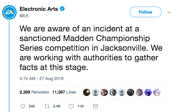 EA Sports response to shooting