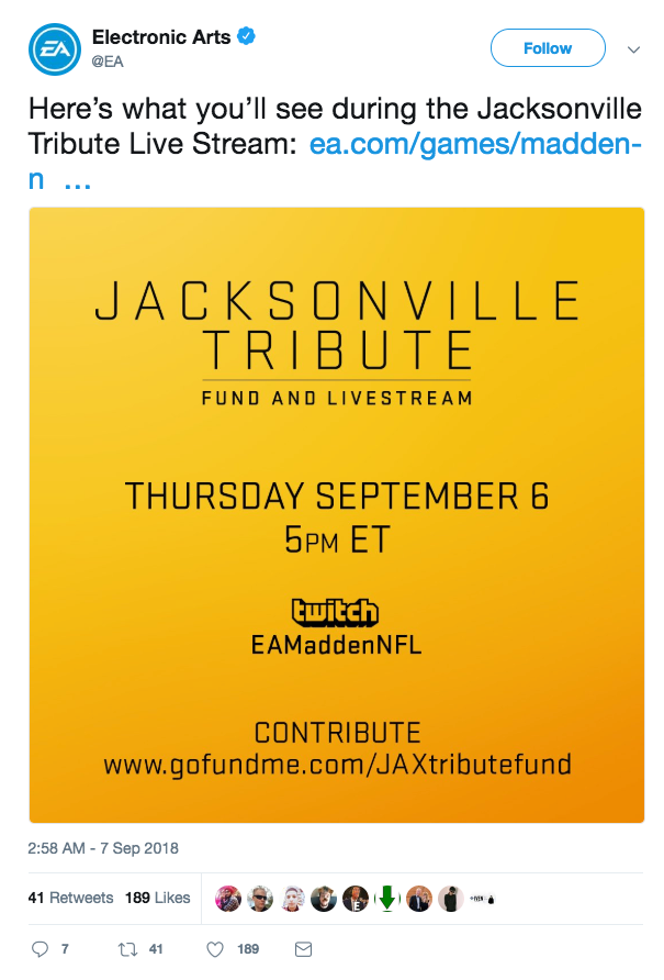 EA Jacksonville Shooting tribute live stream
