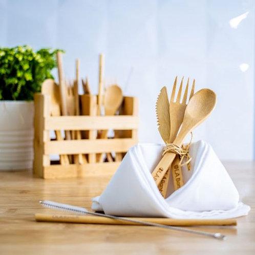 Kit d'ustensiles en bambou réutilisables