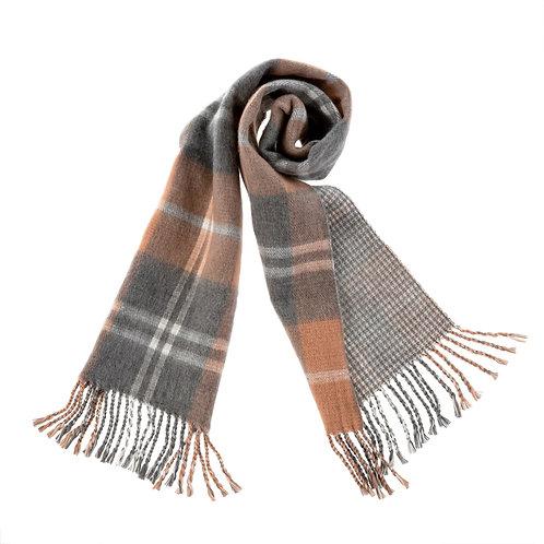 Foulard de laine gris, rose et crème