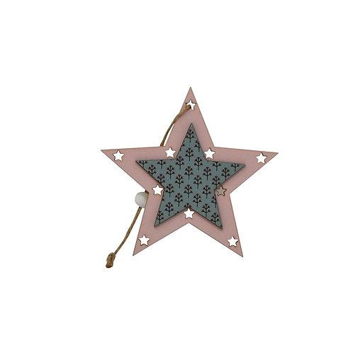 Décoration de Noël - Étoile bleue et rose en bois