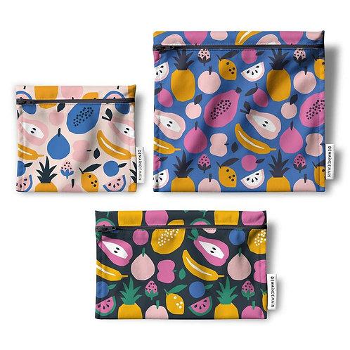Trio de sacs réutilisables Papayes tropicales