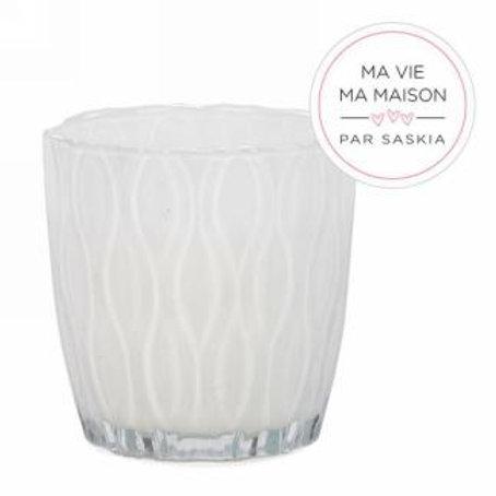 Bougie en verre blanc