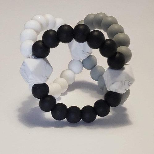 Tri-balle noir, gris et blanc