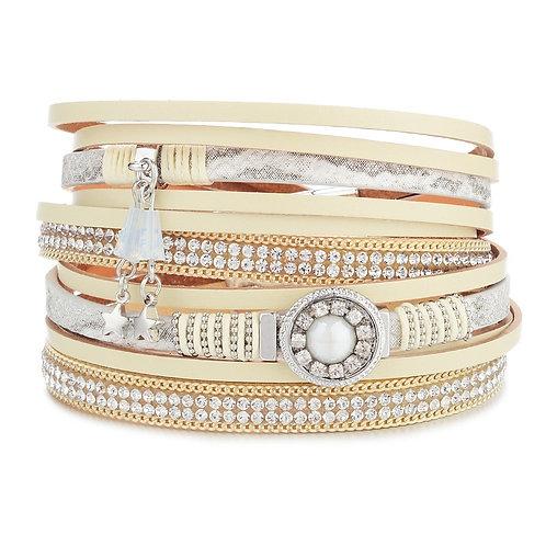 Bracelet beige, perle et étoiles
