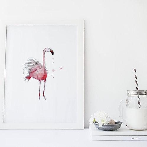Affiche flamant rose