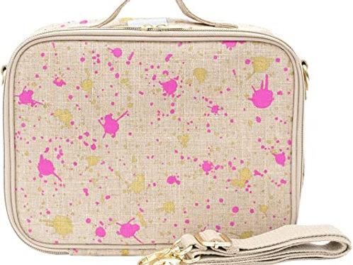 Sac à lunch en textile de lin - Fuchsia Splatter