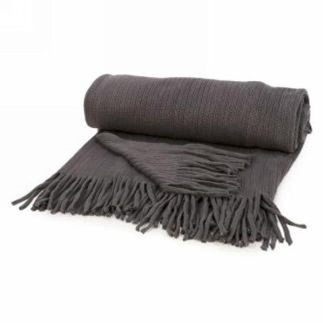 Jeté en laine gris