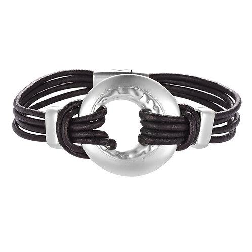 Bracelet noir cercle argent