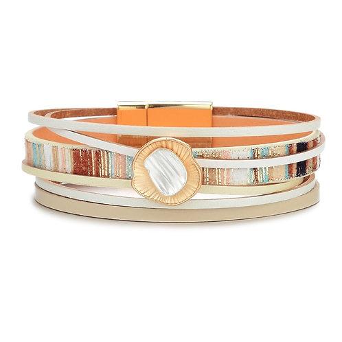 Bracelet beige et multicolore