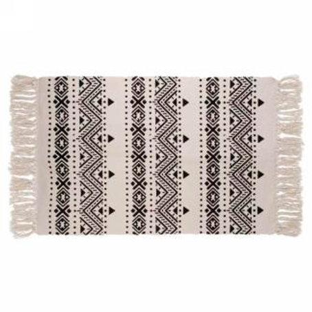 Tapis aztèque noir et crème 3' x 2'
