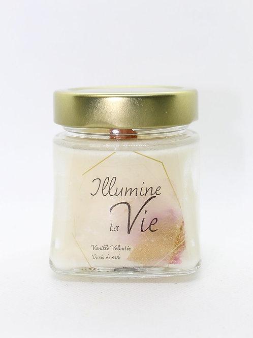 Bougie de soya à mèche crépitante - Vanille veloutée