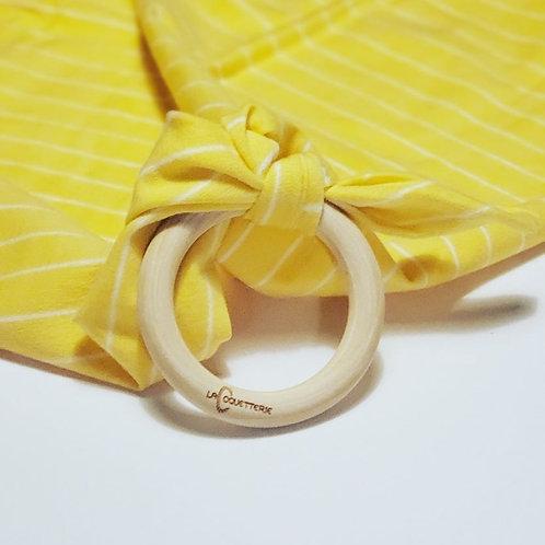 Anneau-doudou jaune et blanc