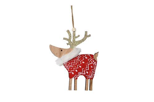 Décoration de Noël - Renne rouge en bois avec grelot