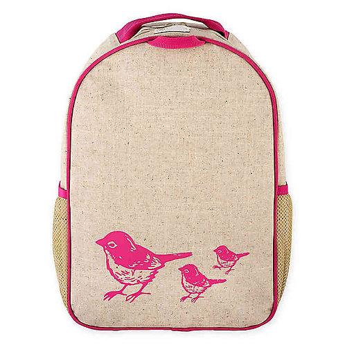 Grand sac à dos en textile de lin - Oiseaux