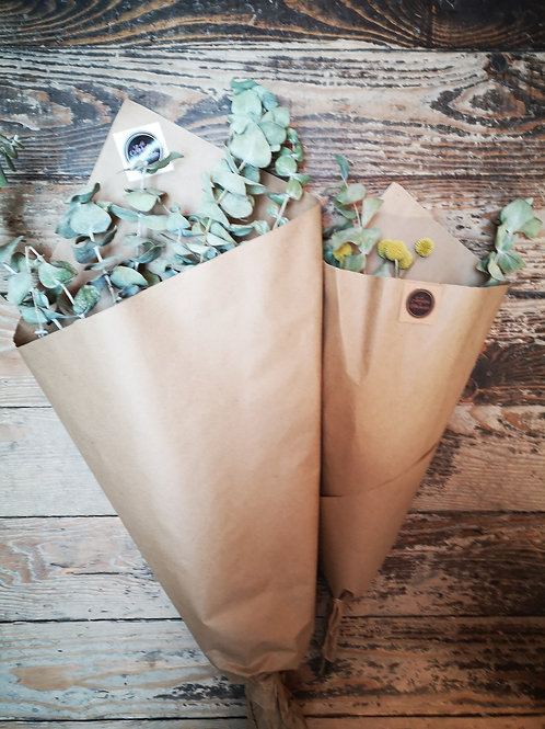 Fleurs séchées - Eucalyptus et craspédie