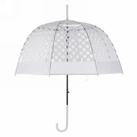 Parapluie translucide à pois blancs