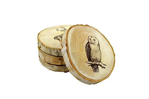 Sous-verres ronds en bois (ens. de 4)