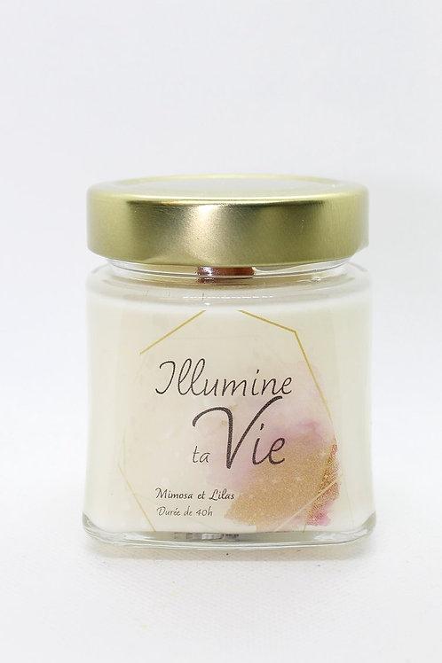 Bougie de soya à mèche crépitante - Mimosa et lilas