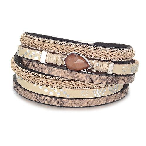 Bracelet beige et brun goutte